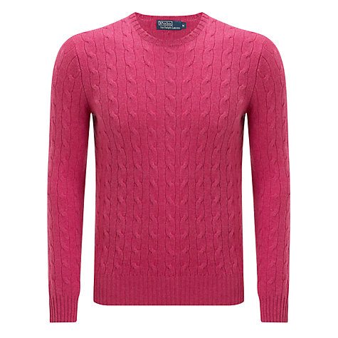 Buy Polo Ralph Lauren Cable Cashmere Cable Crew Neck Jumper Online at johnlewis.com
