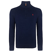 Buy Polo Ralph Lauren Half-Zip Mockneck Jumper, Blue Online at johnlewis.com