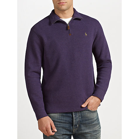 Buy Polo Ralph Lauren Zip Neck Cotton Jumper, Raison Heather Online at johnlewis.com