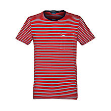 Buy Polo Ralph Lauren Custom Fit Striped Crew Neck T-Shirt, Red Online at johnlewis.com