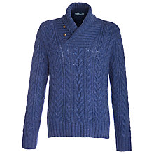 Buy Polo Ralph Lauren Merino Angora Aran Jumper, Medieval Blue Online at johnlewis.com