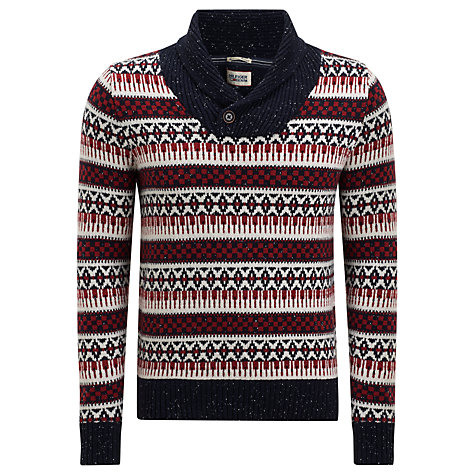 Buy Hilfiger Denim Grimshaw Fairisle Shawl Collar Jumper Online at johnlewis.com