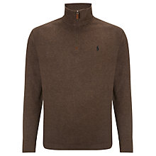 Buy Polo Ralph Lauren Cotton Zip-Neck Jumper, Alpine Brown Heather Online at johnlewis.com
