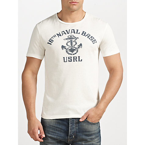 Buy Polo Ralph Lauren Custom Fit Naval Print T-Shirt, Antique Cream Online at johnlewis.com