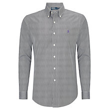 Buy Polo Ralph Lauren Custom Fit Striped Long Sleeve Shirt, Black/White Online at johnlewis.com