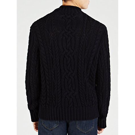 Buy Polo Ralph Lauren Funnel Neck Cable Jumper, Navy Heather Online at johnlewis.com
