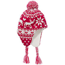 Buy John Lewis Girl Christmas Fair Isle Trapper, Red Online at johnlewis.com