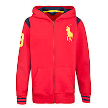 Buy Polo Ralph Lauren Boys' Long Sleeve Big Pony Hoodie, Red/Multi Online at johnlewis.com