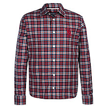 Buy Hackett Boys' Griffin Long Sleeve Check Shirt, Red/White Online at johnlewis.com