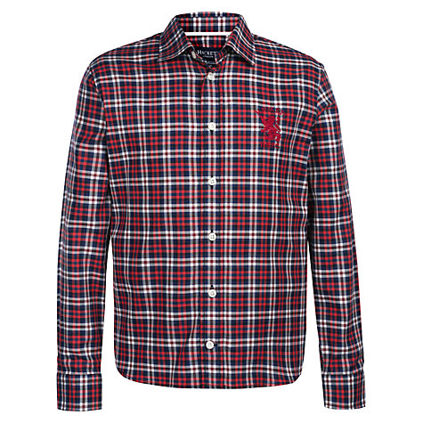 Buy Hackett London Boys' Griffin Long Sleeve Check Shirt, Red/White Online at johnlewis.com