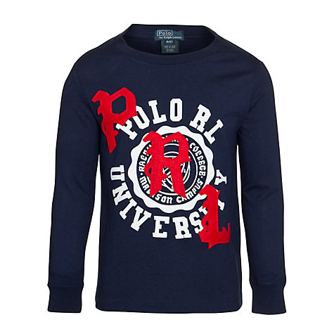 Buy Polo Ralph Lauren Boys' Long Sleeve Graphic T-Shirt, Navy Online at johnlewis.com