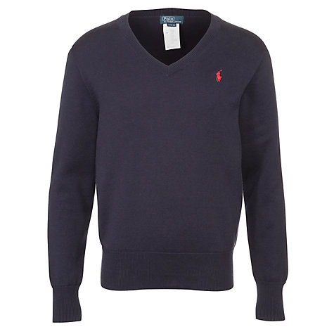 Buy Polo Ralph Lauren Boys' V Neck Jumper, Navy Online at johnlewis.com