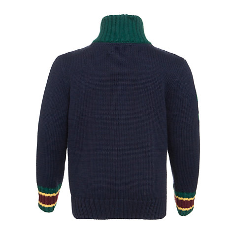 Buy Polo Ralph Lauren Boys' Long Sleeve Knitted Zip Through Jumper, Navy Online at johnlewis.com