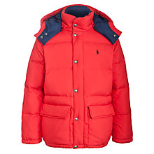 Buy Polo Ralph Lauren Boys' Varsity Down Jacket, Red Online at johnlewis.com