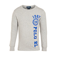 Buy Polo Ralph Lauren Boys' Long Sleeve Graphic T-Shirt, Grey Online at johnlewis.com