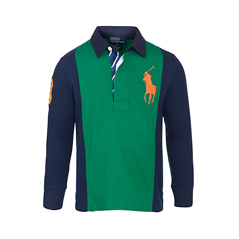 Buy Polo Ralph Lauren Boys' Big Pony Rugby Shirt, Green/Navy Online at johnlewis.com