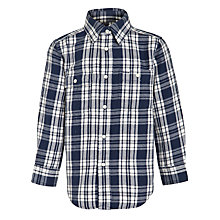 Buy Polo Ralph Lauren Boys' Custom Fit Long Sleeved Checked Shirt, Blue/White Online at johnlewis.com