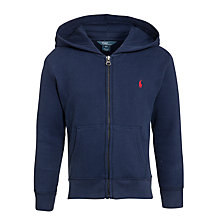 Buy Polo Ralph Lauren Boys' Long Sleeve Zip Through Hoodie, Navy Online at johnlewis.com