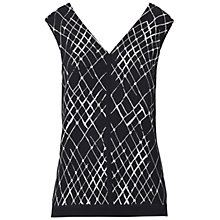 Buy Whistles Net Print V-Neck Top, Black Online at johnlewis.com
