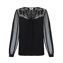 Buy Somerset by Alice Temperley Velvet Trim Top, Black Online at johnlewis.com