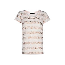 Buy Mango Metallic Stripe Short Sleeve Top, Pink Online at johnlewis.com