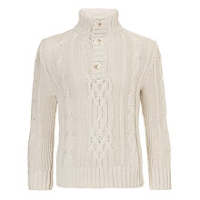 Buy John Lewis Boy Chunky Cable Knit Jumper, Cream Online at johnlewis.com