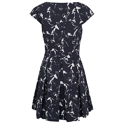 Buy French Connection Hatched Horses Capped Sleeve Dress, Black Online at johnlewis.com