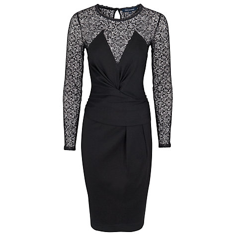 Buy French Connection Vienna Long Sleeved Cross Over Dress, Black Online at johnlewis.com