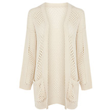 Buy Warehouse Ribbed Sleeve Cardigan, Cream Online at johnlewis.com
