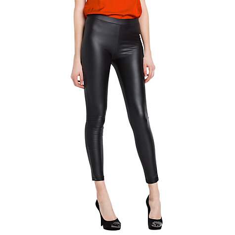 Buy Mango Coated Leggings, Black Online at johnlewis.com