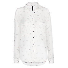 Buy Mango Eagle Print Shirt, Natural White Online at johnlewis.com
