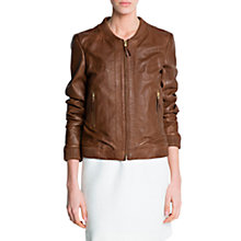 Buy Mango Leather Bomber Jacket Online at johnlewis.com