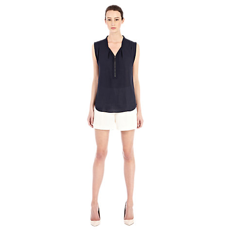 Buy Warehouse Zip Front Blouse, Midnight Online at johnlewis.com