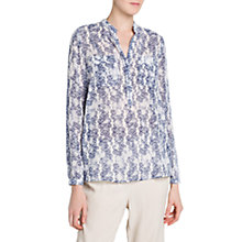 Buy Mango Damask Print Blouse, Medium Blue Online at johnlewis.com