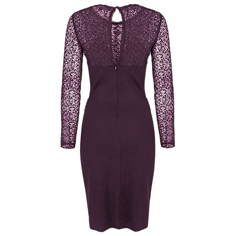 Buy French Connection Vienna Long Sleeved Cross Over Dress, Cherry Online at johnlewis.com