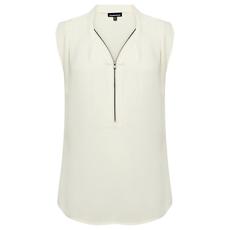 Buy Warehouse Zip Up Blouse, Cream Online at johnlewis.com