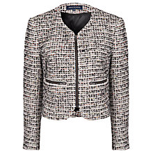 Buy French Connection Electric Bouclé Zip Jacket, Cream/Blue Online at johnlewis.com