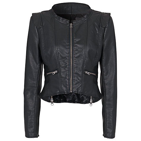 Buy French Connection Riot Stretch Leather Cropped Jacket, Black Online at johnlewis.com