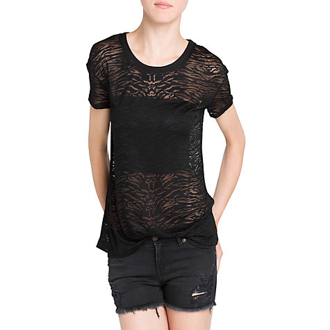 Buy Mango Devore T-Shirt, Black Online at johnlewis.com