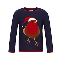 Buy John Lewis Girl Robin Jumper, Navy/Red Online at johnlewis.com