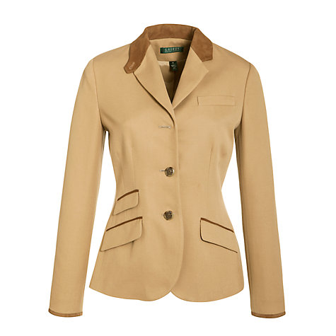 Buy Lauren by Ralph Lauren Suede-Trimmed Hacking Jacket, Excursion Khaki Online at johnlewis.com