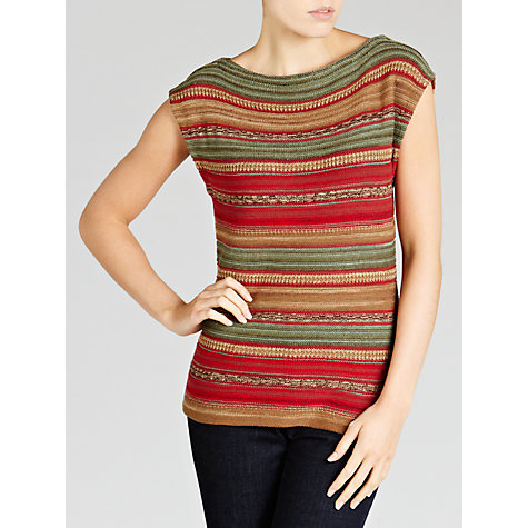 Buy Lauren by Ralph Lauren Striped Linen-blend Boatneck Top, Multi Online at johnlewis.com