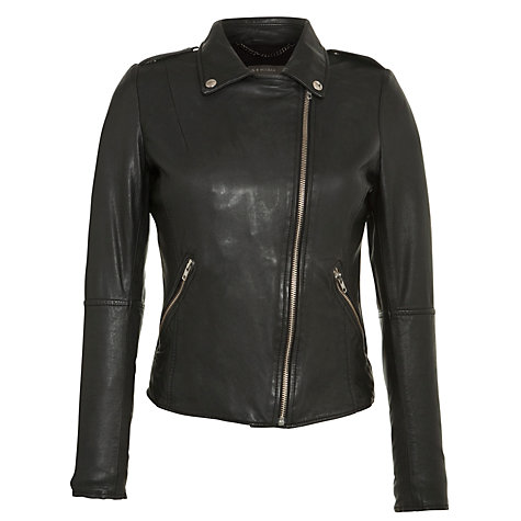 Buy Muubaa Carmonia Zip Biker Jacket, Black Online at johnlewis.com