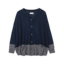 Buy Toast Colour Block Cardigan, Grey Melange/Dark Navy Online at johnlewis.com