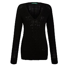 Buy Lauren by Ralph Lauren V-Neck Jumper, Black Online at johnlewis.com