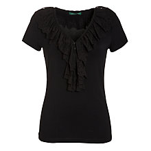 Buy Lauren by Ralph Lauren Ruffle Front V-Neck Top, Black Online at johnlewis.com