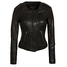 Buy Muubaa Ziare Collarless Leather Biker Jacket, Black Online at johnlewis.com