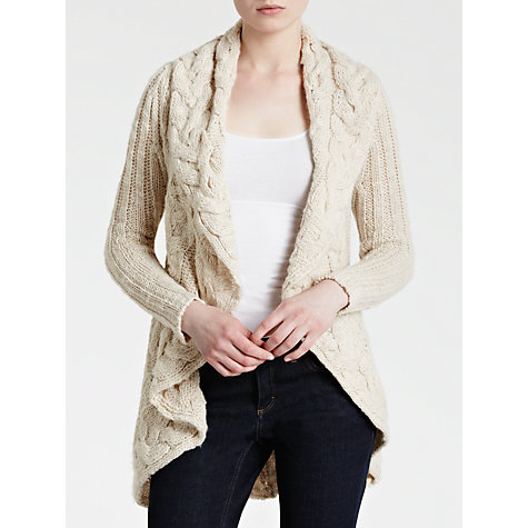 Buy Avoca Aga Waterfall Cardigan, Cream Online at johnlewis.com