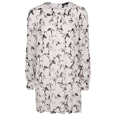 Buy French Connection Hatched Horses Tunic Dress, White Online at johnlewis.com
