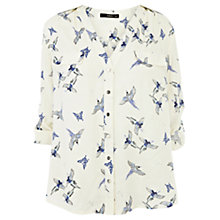 Buy Oasis Bird  Print Zip Pocket Shirt, Off White Online at johnlewis.com